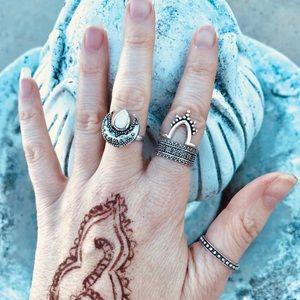 4pc BOHO rings silver moon band opal set carved